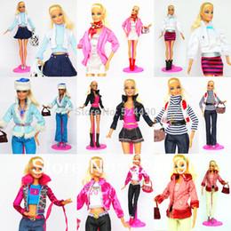 Wholesale Girls Pant Coat Design - 5 Sets Outfit Unique Design Handmade Doll Dresses Clothing Suit Coat Pants Accessories For Kurhn Barbie Doll Children Kids Gift