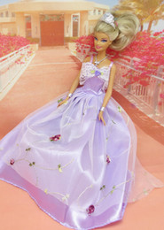 Wholesale Dress Minimum Order - Gold sequins Handmade Party Doll's Dress Clothes Gown For Barbie best baby christmas gift X07-01 (Mix minimum order $10)