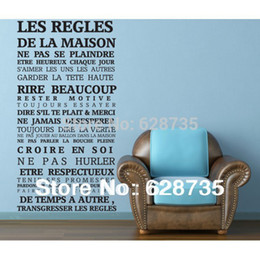 """Wholesale House Rules Wall Art - French version """"House rules"""" quote wall stickers home decor , vinyl art decals sticker home decoration free shipping fr1000"""