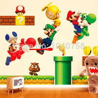 Wholesale Super Mario Removable Wall Sticker - Super Mario Bros Cartoon Removable Wall Stickers for Kids Baby Rooms Decoration Adesivo De Parede Home Decor Wall Decals art