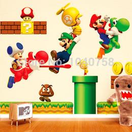 Wholesale Mario Baby - Super Mario Bros Cartoon Removable Wall Stickers for Kids Baby Rooms Decoration Adesivo De Parede Home Decor Wall Decals art