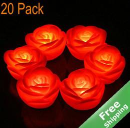 China LED Flameless Candle Light + Rose Design + Wedding celebration +20pcs Lot + Free shipping supplier flameless candles free shipping suppliers