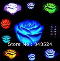 cor de luz mudando luzes da flor venda por atacado-LED mudando de cor flutuante rosa flor luz