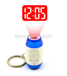 LED PROJECTION CLOCK KEY FINDER GADGET LASER POINTER POINT BEAM RING HOLDER LIGHT UP SHOW CEILING TIME GLOW IN DARK 007 NEON