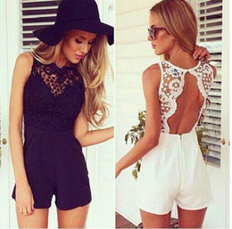 Wholesale Elegant Shorts Rompers - New 2015 Summer Lace Jumpsuits Women Sexy Shorts Bodycon Rompers Fashion Backless White Black Cute Elegant Overalls For Women