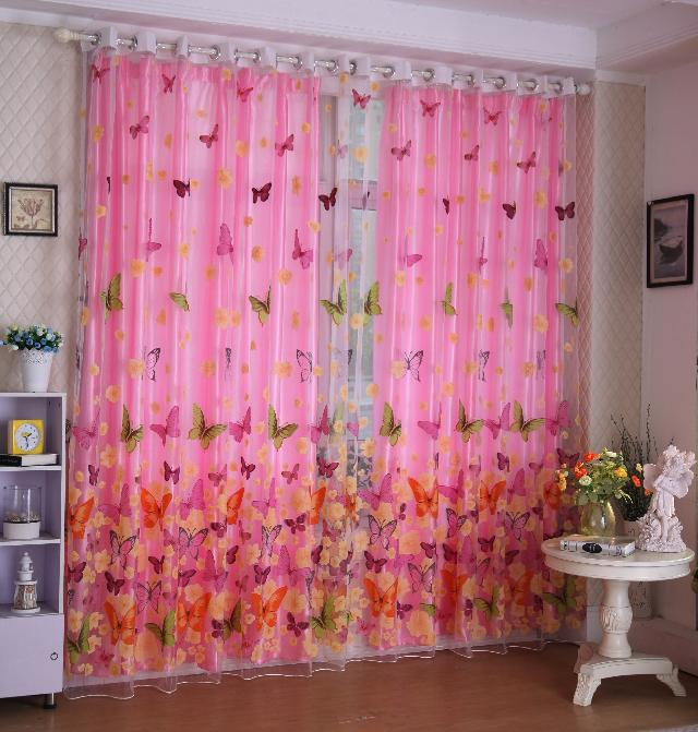 Romantic Pink Butterfly Curtains Butterfly Sheer Curtains For Living ...