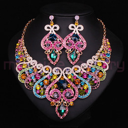 Wholesale Aqua Decorations - Wholesale-Fashion Bridal Jewelry Sets Wedding Necklace Earring For Brides Party Accessories Gold Plated Crystal Sapphire Decoration Women