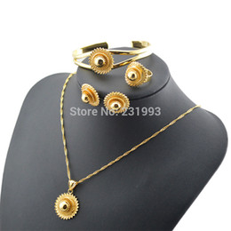 Wholesale Ethiopian Earrings - Wholesale-Ethiopian Necklace & Earrings&bangle&ring & pendants Sets 18k Gold Filled Jewelry African wedding jewelry sets