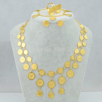 bijoux indiens remplis d'or achat en gros de-Wholesale-Luxury Coin Set Collier / Bracelet / Boucles d'oreille / Bague 18k Or plaqué bijoux remplis Arabe / Afrique / Brésilien / Indien / Indonésie / Erythrée