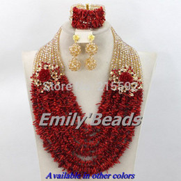 Wholesale Red Coral Beads Necklace Sets - Wholesale-Charming Nigerian Bead Necklaces Wedding Champagne Gold Crystal Red Coral Beads Jewelry Set African Beads Jewelry Set CJ173