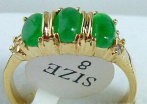 wholesale Emerald green jade 3 Bead 18KGP Ring size: 7.8.9