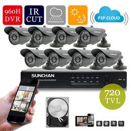 Wholesale Gb Bullet - SUNCHAN 720TVL 8ch CCTV DVR Kit 8ch Security Camera System 720TVL IR Bullet Outdoor Cameras IR Cut 8ch 960h   D1 DVR 1TB HDD