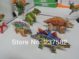 Wholesale 3d Cardboard Model Puzzles - 20pcs lot wholesale classic toys 3D JIGSAW PUZZLE DIY dinosaur cardboard model 3d dinosaur games puzzle for the children