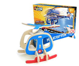 Wholesale Helicopter Wooden Puzzle - Educational toy P240 transport helicopter solar plane 3d jigsaw puzzle assembly model wooden creative game children gift 1 pc