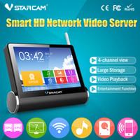 Wholesale Network Video Server Ip Camera - NEW WIFI NVR wireless network video server with 7 inch screen 4 wireless ip camera output wifi nvr kit VStarcam NVS-K200