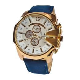 Wholesale Dress Up Glasses - V6 Mens Quartz Watches Pu Leather Luxury Golden Case Big Dial Men Watch Analog Mens Dress Watches WWSP0201