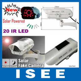 Wholesale Security Camera S - Wholesale-Newest Super Realistic Solar Powered CCTV Security Dummy Fake IR Camera With 20IR LEDs Lit up by Itself At Night Free S hipping
