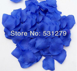 royal blue silk petals Promo Codes - Wholesale-1000pcs Artificial royal blue silk rose petals for wedding basket girl flowers petalos de rosa 10pack 100pcs pack free shipping
