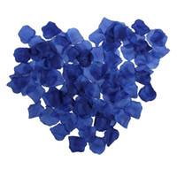 düğün mavi yaprakları toptan satış-Toptan-1000 adet Kraliyet Mavi Yapay İpek Gül Çiçek Yapraklı Düğün Gelin Parti Dekorasyon Masa Saçar Konfeti