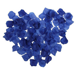 Wholesale Table Decoration Confetti - Wholesale- 1000pcs Royal Blue Artificial Silk Rose Flower Petals Wedding Bridal Party Decoration Table Scaters Confetti