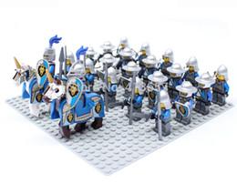 Wholesale Building Blocks Castle - 24pcs lot Castle Middle ages Fiery Dragon and Blue Lion Elite Cavalry solider Minifigures team with horse building block sets