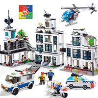 Wholesale Headquarters Police - WOMA C9698 1230 pcs Police Headquarters Car and Helicopter Minifigures Model Building Block Sets Educational DIY Bricks Toys