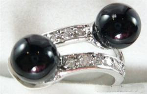 wholesale Double Black Agate Jade Silver Crystal Ring Size: 7.8.9