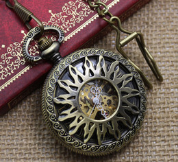 Wholesale Good Coupons - Coupon for wholesale price good quality new antique bronze classical sun flower mechanical pocket watch hour with chain hour
