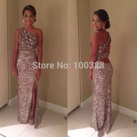 Wholesale Straight Slit Prom Dresses - 2015 New Fashion Free Shipping Floor-Length One-Shoulder Sleeveless Slit Backless Crystal Straight Sequines Prom Evening Dresses