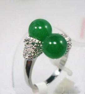 wholesale Double Green Jade Beads Silver Crystal Ring Size: 6.7.8.9