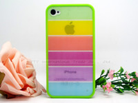 Wholesale Iphone4s Case Silicon - 1PC Silicon Rainbow Shell Cover Case Soft Back For Apple iphone 4 4S For iPhone4 iPhone4S i Phone Protection Cases--EUEHD02-01-0