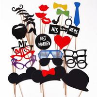 eğlenceli sahne sopa toptan satış-Toptan-31 ADET Komik Düğün Photo Booth A Stick Bıyık Parti Maskeleri Eğlenceli Doğum Günü Favor Sahne