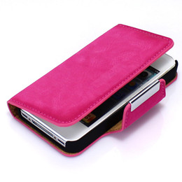 Wholesale Deluxe 4g - Deluxe Leather Flip Hard Metal Magnetic Style Card Clip Cover Case For iPhone 4G 4S Holster Fashion Stand Wallet Bag