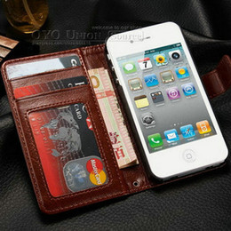 Wholesale Iphone4s Leather - Durable Wallet PU Leather case for iphone 4 4s with Stand + 2 Card Holders sleep Grain Phone Bag for iPhone4S with Card Holder