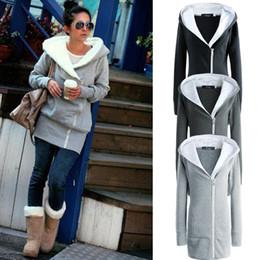Wholesale Ladies Zip Up Hoodies - 2015 Korea Women Hoodies Ladies Jacket Coat Warm Zip Up Outerwear Sweatshirts Casual Jacket Black Gray 2021