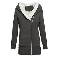 Wholesale Coat Warm Zip Up Outerwear - 2015 Womens Hoodies Winter Autumn Warm Fleece Cotton Coat Zip Up Outerwear Hooded Sweatshirts Sport Suit Casual Long Coat Jacket