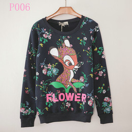 Wholesale Flowers Alice - [Alice] 2015 New winter fashion hoody Flowers deer rabbit Lightning dog printing women's hoodies Loose women fleece Sweatshirts