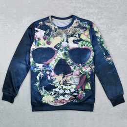 Wholesale Dog Sweat Shirts - Harajuku style new 2015 men women's 3D sweatshirts printed flower dog floral skull novelty sweat shirts autumn casual tops