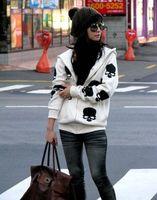 Wholesale Ladies Skull Hoodies - Free Shipping 2015 New Fashion women Skull hoodies lady Long thicken Zipper hooded jacket