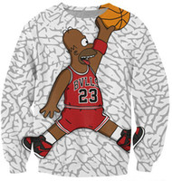 Wholesale Simpsons Bart Pullover - Alisister Fashion men women's cartoon O-Neck clothes 3d print Bart Simpsons basketball sweatshirt pullover hoodies Harajuku top