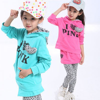 Wholesale Older Girls Clothing Sets - Wholesale-EMS DHL Free shipping new fashion older children Girls children clothing set 2 pcs autumn suit hooded leopard pants 120-160