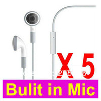 Wholesale Apple Iphone 3g Brand New - 100% Brand New Hight Quality+LOT 5 5PCS Earphones Headphone Headset With Mic For Apple iPhone 4 4G 3GS 3G + Free Shipping