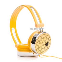 Wholesale Dj Headphone Girls - Rockpapa Love Heart Pattern Overhead DJ Styles Headphones Headset for Kids Childs Boys Girls Teens Adult for iPod iPad iPhone