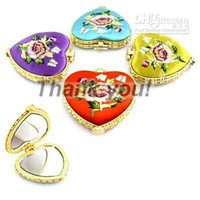 Wholesale Compact Mirror Heart Shaped - Cute Porable Heart Shaped Folding Compact Mirrors Favor Silk Embroidered Double Sided Mirror 50pcs lot mix color Free shipping