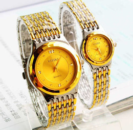 Wholesale Rosra Watches Gold - Hot sale A pair Rosra brand watches Lover's Couple watches men women High quality gold steel Wristwatch