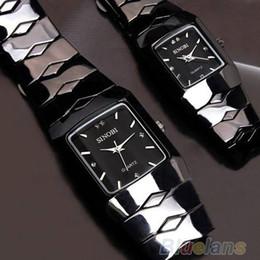 Wholesale sinobi watches men - Full Stainless Steel Wrist Watch for Couple Lovers Women Men Quartz Watch SINOBI Luxury Brand Black Classic Waterproof Watch