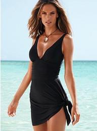 trajes de banho Desconto 2015 novo estilo de baixo preço novo estilo Sexy assimétrica Swim vestido One Piece Swimsuit Com Pad - frete grátis