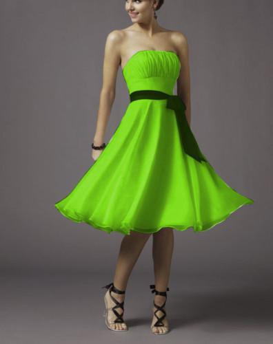 2015 Lime Green A Line Chiffon Tea Length Bridesmaid Dress Bridal ...