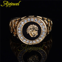 Wholesale Mens Filled Rings - Wholesale-Ajojewel brand new high quality CZ diamond superhero mens rings gold filled 2015 fashion figure ring black