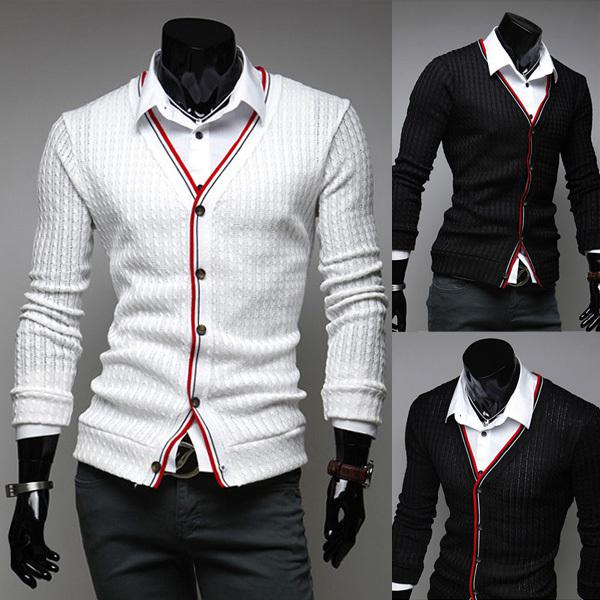 Online Cheap Mens Stylish Cardigan Sweater Knit Wear Casual Slim ...